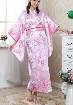 New Arrival Pink Japanese Traditional Yukata  Women's  Kimono With Obi Novelty Evening Party Dress Dance Dress One size