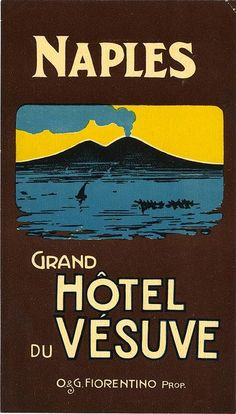 Grand Hotel du Vesuve, Naples ~ Luggage Label