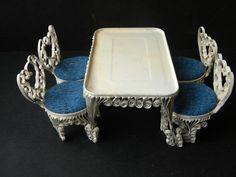 Vtg Tin Can Scroll Work Handmade Doll House Furniture Folk Art, Table & 4 Chairs on eBay! $21.24
