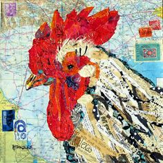 Nancy Standlee Fine Art: Rooster Torn and Hand Painted Paper Collage Painting by Texas Daily Painter Nancy Standlee