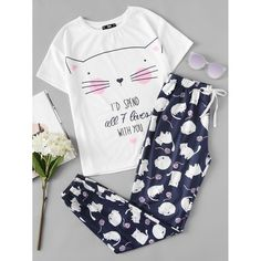 Cheap womens pajamas set, Buy Quality pajama sets directly from China pajama sets women Suppliers: SHEIN Cute Sleepwear Women Pajama Sets Women Cat Print Short Sleeve Round Neck White Tee and Blue Pants Pajama Set Pajamas For Teens, Cute Pajamas, Pajamas Women, Cute Sleepwear, Sleepwear Women, Loungewear, Satin Pyjama Set, Pajama Set, Pajama Pants