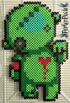Bleeding Heart Zombie Perler Beads by PerlerPixie