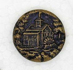 Beautiful-Antique-Brass-Button-Country-Water-Mill-Scene-Purple-Tint-3-4-034
