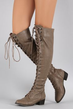 43bf9391e41 Breckelle Military Lace Up Over-The-Knee Boots
