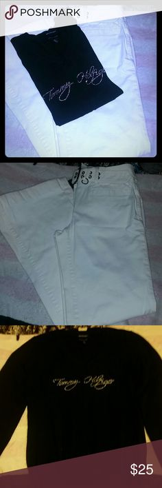 Tommy Hilfiger Outfit *V-neck Sweater (TH)  *Tommy Hilfiger wrote in silver rhinestones  *gently used condition  *Fabric is Pima cotton Blend  *Medium  ?Tommy Hilfiger White dress pants with belt ?size 4P ?wide leg casual dress pants  ?Gently used condition Tommy Hilfiger Other
