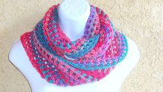 Infinity Moebius Scarf, spiral crocheted in Winter-Spring color stripes brushed lightweight yarn Spiral Crochet, My Signature, Winter Springs, Teal, Purple, Color Stripes, Shades Of Red, Spring Colors, Handicraft