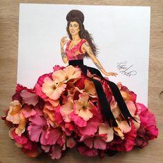 Armenian Fashion Illustrator Creates Stunning Dresses From Everyday Objects Gorgeous Dresses, Arte Fashion, Floral Fashion, Vintage Fashion, Fashion Design Drawings, Fashion Sketches, Fashion Illustration Dresses, Fashion Illustrations, Illustration Mode, Creative Artwork