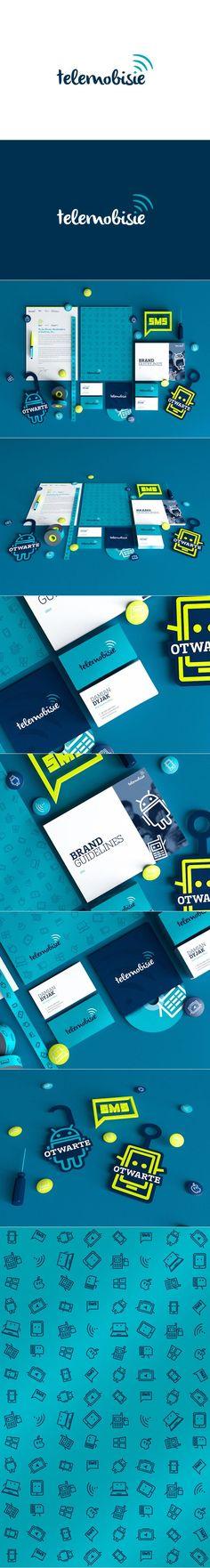 Telemobisie visual identity and branding designed by Gosia Zalot and Wojciech Zalot, via Behance. Web Design, Design Typo, Brand Identity Design, Graphic Design Branding, Stationery Design, Typography Design, Packaging Design, Brochure Design, Corporate Design