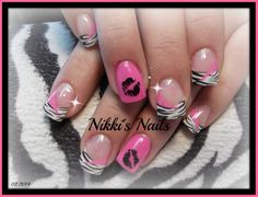 Wild #31NAILS2014 #pink #kisslips #zebra #white #nailart #handpainting follow my work at  https://www.facebook.com/pages/Nikkis-Nails/122412717805331?ref=hl