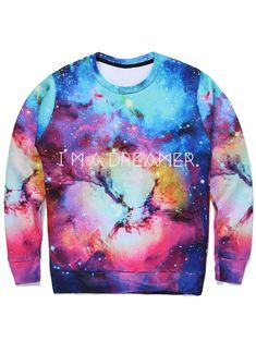 245492532626 Letter Print 3D Galaxy Sweatshirt - COLORMIX M Fashion Coat