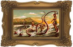 """Monsters added to dull thrift store landscape paintings - """"Surf Monster"""""""