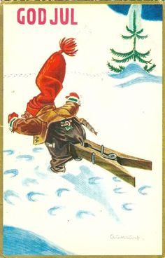 Kjell Aukrust Norwegian Christmas, Scandinavian Christmas, Christmas Greeting Cards, Christmas Greetings, Christmas Postcards, Christmas Artwork, Anna, Merry Happy, Woodland Creatures