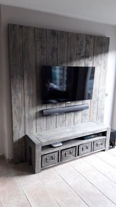 Wall Unit 2019 Wall Unit The post Wall Unit 2019 appeared first on Pallet ideas. Tv Unit Furniture, Pallet Furniture, Living Room Tv, Home And Living, Tv Wall Decor, Wall Tv, Tv Wall Design, Wall Mounted Tv, Wooden Diy