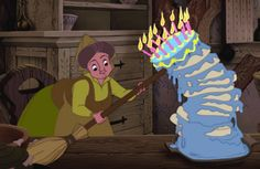 Prop up a teetering layer cake with a broom handle. | 40 Life Hacks From Disney Movies That Are Borderline Genius
