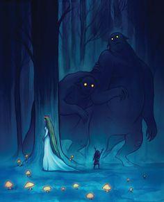 Cory Godbey - Grimm and Other Folk Tales - Daga and the Trolls Fantasy Magic, Fantasy Art, Dark Fantasy, Animation, Images Wallpaper, Fantasy Illustration, Illustrations, Pics Art, Fantasy Creatures