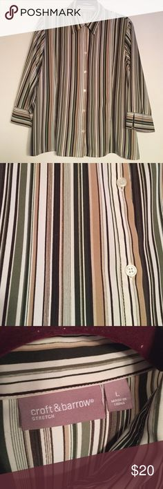 Striped 3/4 sleeve blouse Green , brown and tan blouse. Great addition to your career wardrobe.  Split cuff 3/4 sleeves that you won't have in your way (pic 4). Polyester, spandex blend that moves with you and gently hugs your curves. croft & barrow Tops Blouses