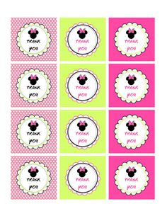 Minnie Mouse Bowtique 2 Thank You Tags - Printable File via Etsy