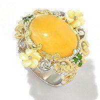 Gems en Vogue II 16 x 12mm Yellow Opal & Multi Gemstone Daisy & Bee Ring ShopNBC.com