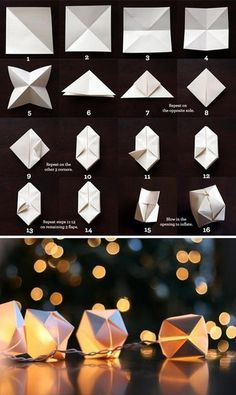"DIY string light decors taking simple things that many people have around the house already and turning it into something else is an awesome way of showing one's creativity. materials"" paper, (possibly scissorts), stringed lights steps: fold paper, put on lights"