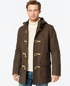 $99, Tommy Hilfiger Wool Blend Melton Toggle Coat. Sold by Macy's. Click for more info: https://lookastic.com/men/shop_items/383727/redirect