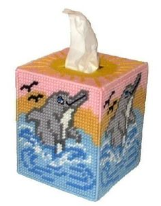 dolphin plastic canvas tissue box covers - Google Search