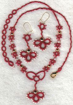 Tatted necklace and earring set.