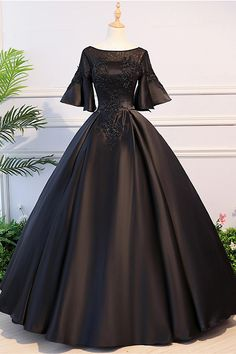 long prom dresses - Black Satin Open Back Mid Sleeve Long Applique Evening Dress, Prom Dress Black Wedding Dresses, Elegant Dresses, Pretty Dresses, Beautiful Dresses, Black Gowns, Dress Black, Ball Dresses, Prom Dresses, Formal Dresses