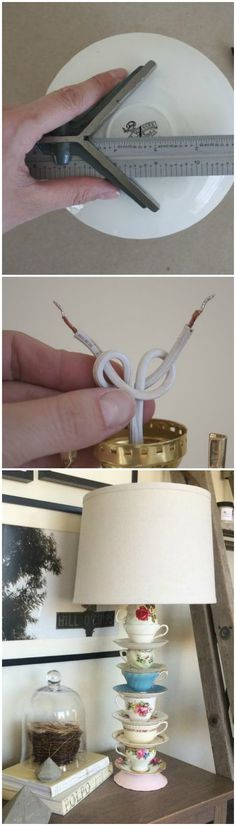 Teacup lamp tutorial ~ the best way to make a stacked teacup lamp.