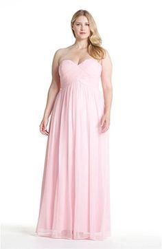 Donna Morgan 'Laura' Ruched Sweetheart Silk Chiffon Gown (Regular & Plus)