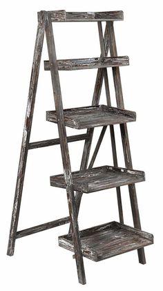 Crestview Boulder Distressed Ladder Shelf CVFZR1108