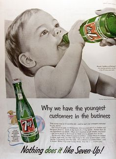 7Up (1955) {It's A Good Thing We No Longer Use Babies To Sell Cigarettes, Cellophane, Sugar & Soda.Commercials That you Will Never See Again}