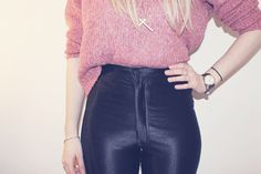 Tuck in the front of a jumper and wear a long necklace for a simple wintertime look - disco pants.