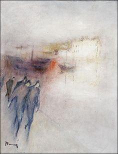 Kävelyllä hietalahden rannassa by Elvi Maarni Figurative, Surrealism, Portraits, Fine Art, Canvas, Classic, Artist, People, Painting