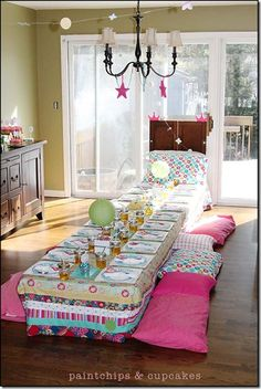 Princess and the pea party - table mase to look like a bed!