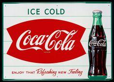 Coca-Cola - US Fishtail Logo Sign - 1963
