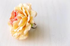 Light yellow/pink handsculpted flower of peonia by FloralStyle