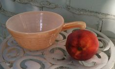 Fire King peach lustre soup bowl with handle oven ware just snagged this @ thrift store for #1