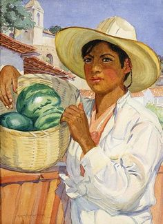 """Susan Ricker Knox (1874 – 1959). """"Young Man Holding A Basket Of Watermelons"""""""