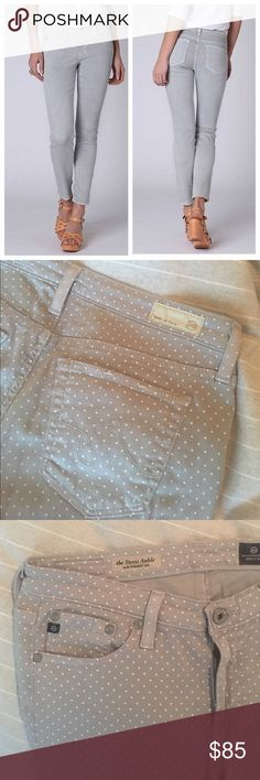 "AG Stevie Polka Dot Slim Ankle Jeans Anthropologie Add an extra pattern under your belt, with these spotted, curve-skimming skinnies. Made exclusively for Anthropologie. Worn about 3 times- perfect condition. Slim straight style, ankle length! Very soft with some stretch! Super cute with a white blouse or chambray!   By AG Five-pocket styling Cotton, tencel, polyurethane Machine wash 27.75""L 7.5"" rise; 6"" ankle 🇺🇸 made in usa AG Adriano Goldschmied Jeans Ankle & Cropped"