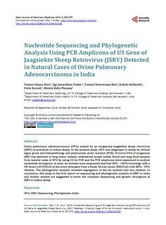 Research article citing Genotypic's Sanger Service. It's the first article that shows complete sequencing and genetic divergence of JSRV (Jaagsiekte Sheep Retrovirus) in Indian sheep. Congratulations to all the Authors and thank you for citing Genotypic. http://www.scirp.org/journal/PaperInformation.aspx?PaperID=51553#.VHKwi5SSzNQ