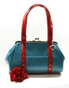 Rockabilly Purse, Glitter Vinyl Handbag