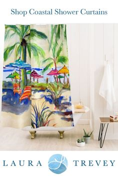 Transport yourself to the tropics with this Caribbean themed shower curtain. Coastal living inspired bed and bath by Laura Trevey.