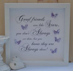 A beautiful gift for a wonderful friend. Made to order and colour themes can be made to suit your needs, just send me a message. 3D box frame, the size is 26 x 26cm, with 3d butterflies, hearts, Swarovski crystals.