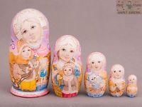 National style Russian wooden nesting dolls matryoshka hand-painted 16cm 5pcs