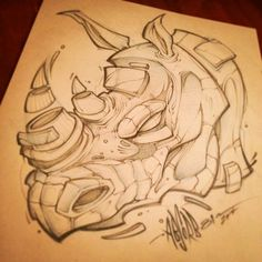 "403 Likes, 24 Comments - Craig Patterson (@absorb81) on Instagram: ""Sketch from last night. #rhino #art #absorb81 #sketch #new #streetart #tattoo #illustration…"""