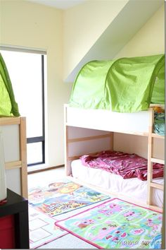Tips for small space living: four kids in one room from mamasmiles.com  What are your top tips for small space living?