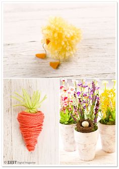 Easter and Spring Table Decor - Yarn Carrot and Pom Pom Chick DIY