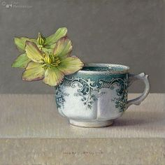 """Groene Helleborus"" by Ingrid Smuling, Dutch Artist . Painting Still Life, Still Life Art, Art Floral, Realistic Oil Painting, Art Watercolor, Still Life Flowers, Tea Art, Dutch Artists, Botanical Art"