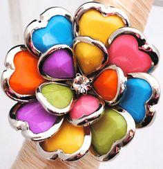 Multicolor silver cocktail ring  Summer colors by victoriascharms, $15.00