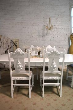 Dining Table Painted Cottage Chic Shabby Set Of Six French Kitchen Chairs CHR161